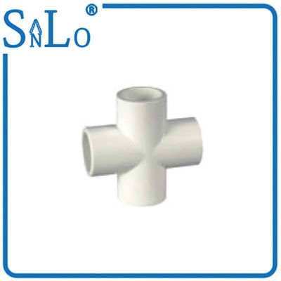 China 1 2 Inch  Four Way Pvc Cross Tee Pipe Fitting For Repairing Knot Multifunction supplier