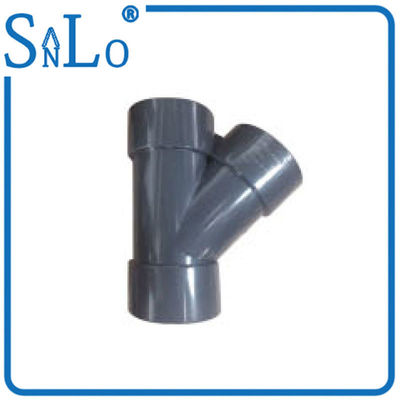 China 4 Inch / 6 Inch Grey UPVC Pressure Pipe Fittings , Y Tee Pipe Fitting With Stock factory