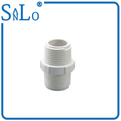 China 3 Inch Threaded PVC Pipe Fittings Irrigation , White Plastic Threaded Pipe Nipples distributor
