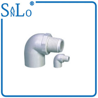 China Compressive Sch 40 PVC Pipe Fittings , Half Inch Male Threaded Elbow With Small Stock factory
