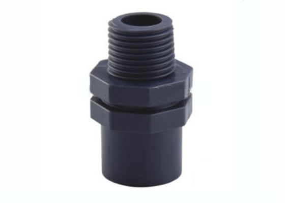 "China Black PVC U Joint Pipe Fittings , 20 X 1 / 2 "" ~ 25 X 3 / 4 "" Pvc Male Threaded Adapter factory"