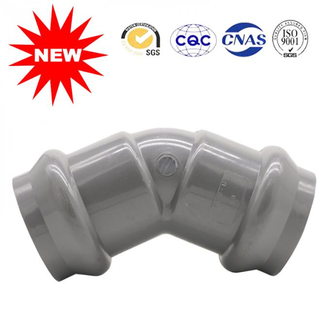 Double Bearing 45° Elbow PVC U Water Supply Fittings In Gray Color Can Customized