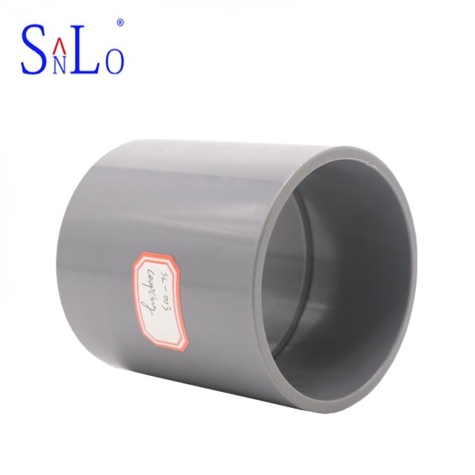 Black Color UPVC Coupling Pipe Fittings For Supply System , Carton Transport Packaging